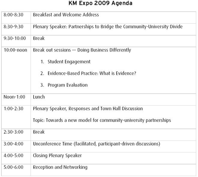 KM Expo 2009 Agenda