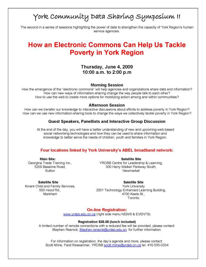 York Community Data Sharing Symposium II