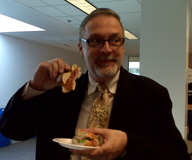 Steve Gaetz enjoying his bacon