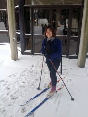 Erin Nelson wearing cross-country skis