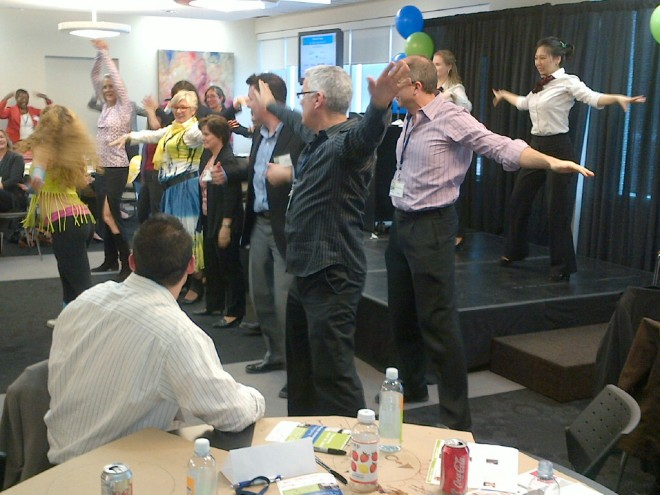 Attendees dancing Zumba for collaboration