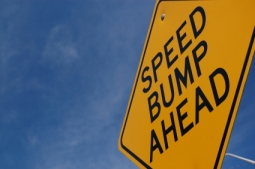 Sign saying Speed Bump Ahead