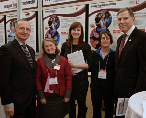 The Honourable Kelvin Ogilvie (Senator), Debra Pepler (Professor, York University), Danielle Quigley (Postdoctoral Fellow), Susan Climie (National Director of Training, Big Brothers Big Sisters of Canada) and Chad Gaffield (President, Social Sciences and Humanities Research Council)