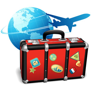 Picture of globe, plane and suitcase